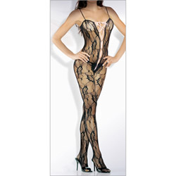 Lace floral lace bodystocking with deep v front satin - bodystockings