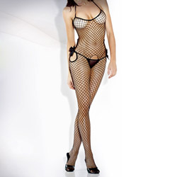 Cutout fishnet bodystocking with bow accents - crotchless bodystocking