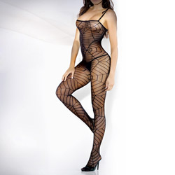 Spiderweb spaghetti strap bodystocking - crotchless bodystocking