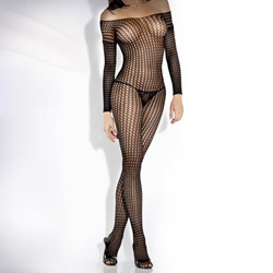 Crochet net long sleeve bodystocking - crotchless bodystocking