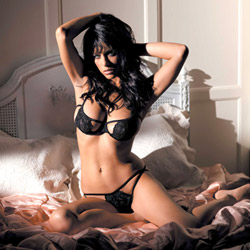 Naughty black lace set - bra and panty set