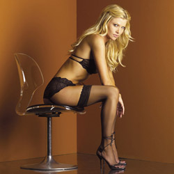 Lace top stockings black - thigh highs