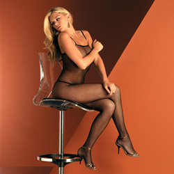 Seamless fishnet body stocking with straps - bodystockings