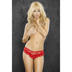 Red rosebud split crotch panty - sexy panty