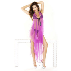 Fuchsia halter gown and g-string