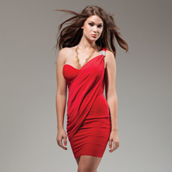 Merkel one shoulder red dress - mini dress