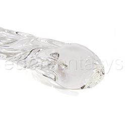 Glass dildo - Swirl ribbed glass dildo with curved G-spot head - view #4