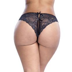 Crotchless panty - Satin and lace crotchless panty queen size - view #1