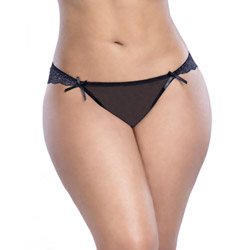 Crotchless panty - Satin and lace crotchless panty queen size - view #2