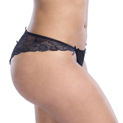 Crotchless panty - Satin and lace crotchless panty queen size - view #3