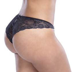 Crotchless panty - Satin and lace crotchless panty queen size - view #4