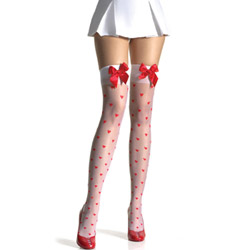 Woven hearts stockings with bows