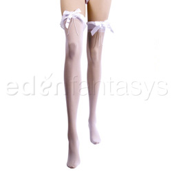 Ruffle top stockings with satin bow and pearls