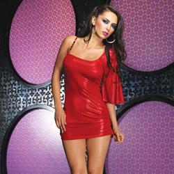 Red foil slinky mini dress