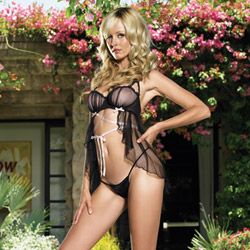 Lace up underwired babydoll set - babydoll and panty set
