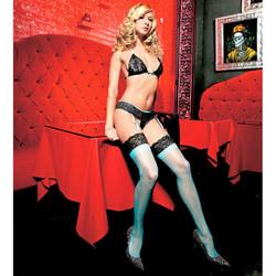 Lacey bra set - bra, gartini and stockings set