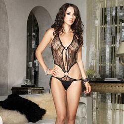 Lace side tie teddy