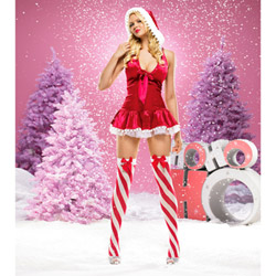 Pom Pom Santa halter dress - sexy costume