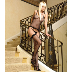 Industrial net camigarter set - camigarter, panty and stockings set