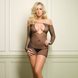 Keyhole fishnet mini dress