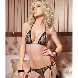 Lace strappy bra and g-string set - bra and panty set