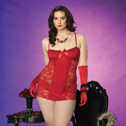 Spandex and lace chemise and panty