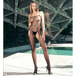 Crotchless suspender fishnet bodystocking - crotchless bodystocking