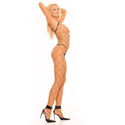 Black fence net bodystocking - bodystockings