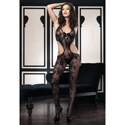 Floral lace bodystocking - bodystockings