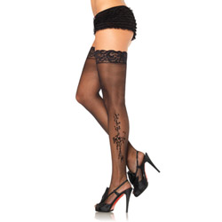 Sheer lace top stockings with woven floral and bow pattern