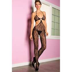 Floral lace halter neck bodystocking - bodystockings