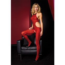 Red zebra print bodystocking - crotchless bodystocking