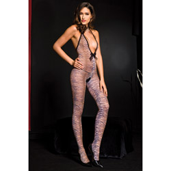 Halter tiger print crotchless bodystocking