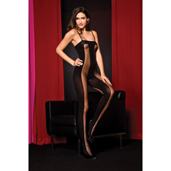Sheer stripe bodystocking - crotchless bodystocking