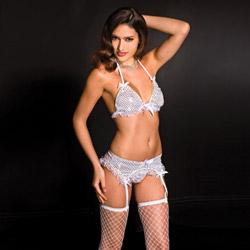 Sequin halter bra and garterbelt set - bra and panty set