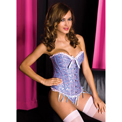 Paisley design brocade corset with g-string