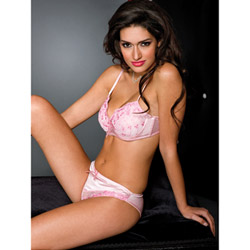 Embroidered bra and panty set