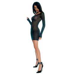 Crochet long sleeve dress - mini dress