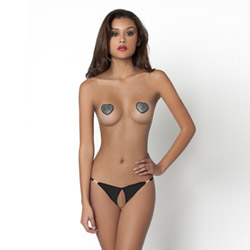 Tres Sexy thong and pasties set - crotchless panty