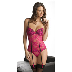 Tres Sexy bustier with garters and g-string