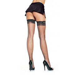 Lace top fishnet thigh highs with backseam