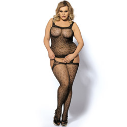 Cheetah bodystocking queen size - crotchless bodystocking