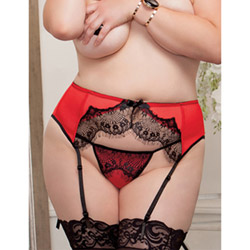 Satin and lace garterbelt and panty set queen size