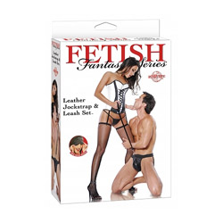 DVD - Leather jockstrap and leash set - view #1