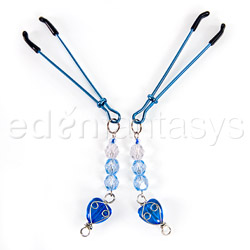 Fresh heart beaded nipple clamps - bdsm toy