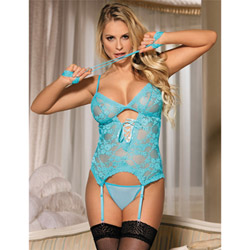 Aqua bustier and restraint set - bustier and panty set