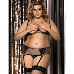 Embrace shelf bra set queen size - bra, panty and garter belt set