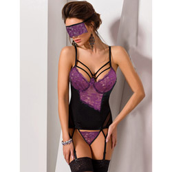 Bella sexy bustier and mask set queen size - bustier and panty set
