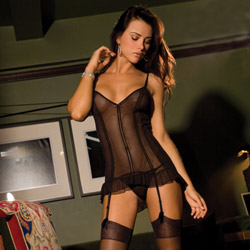 Mesh merry widow and g-string set - camisole set