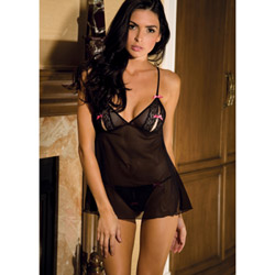 Peek-a-boo-babydoll and g-string set - babydoll and panty set